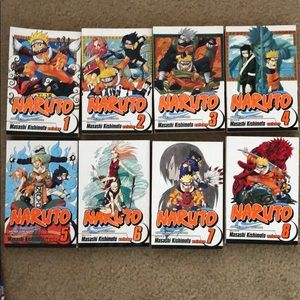 Naruto Books volumes 1,2,3,4,5,6,7,8